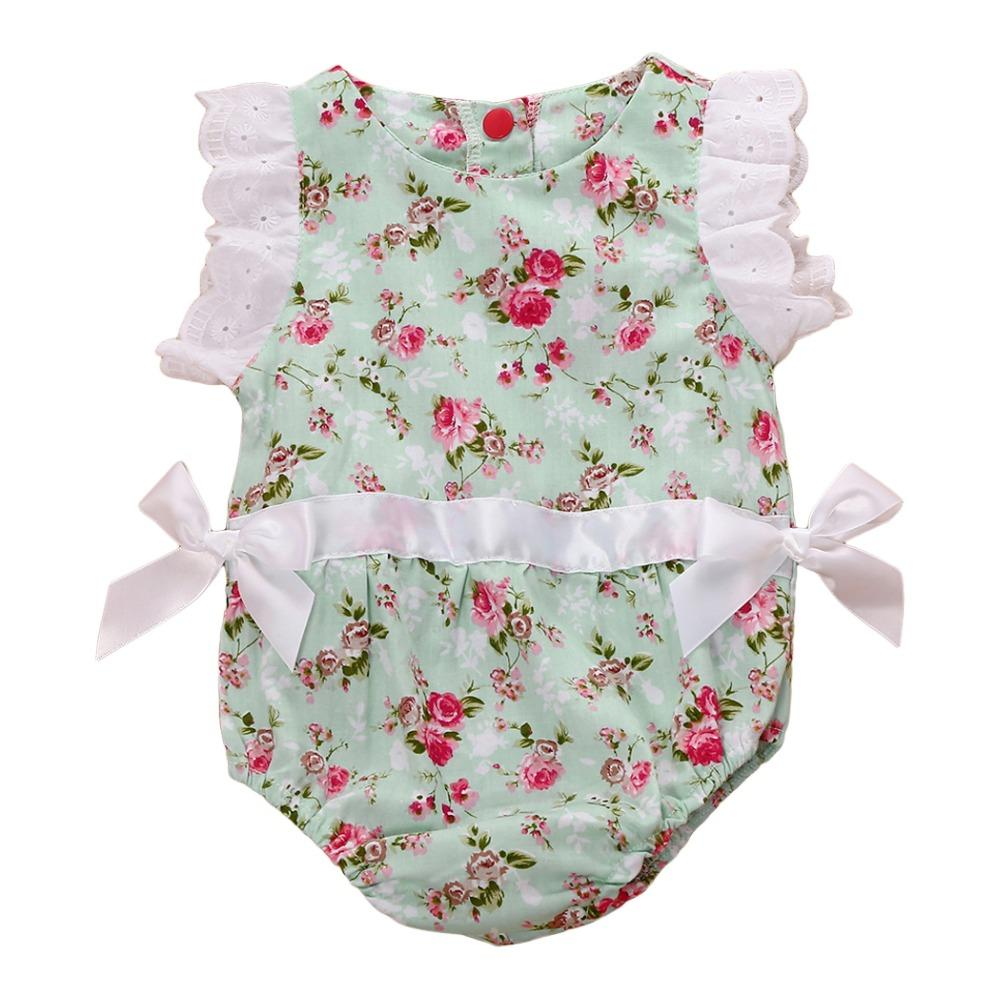 6060585900 2019 2018 Newborn Kids Baby Boys Girls Clothes Floral Sleeveless Lace  Patchwork Bodysuit Jumpsuit Playsuit Summer Bowknot Outfits Y18120801 From  Shenping02, ...