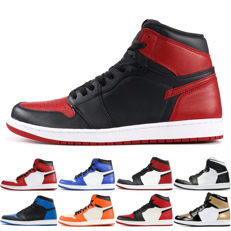 1 OG Herren Basketball Schuhe 2019 Top Qualität Gebannt Zucht Triple Schwarz Weiß Königsblau TOP 1s Designer Sport Sneakers Größe 36 46