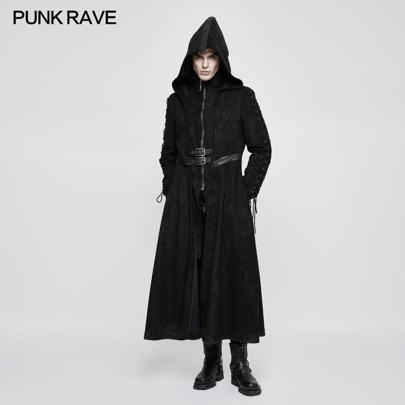 2d8b4402a PUNK RAVE Men Steampunk Black Hooded Long Coat Fake Two Piece Fashion Men s  Gothic Dark Angel Long Trench Coat