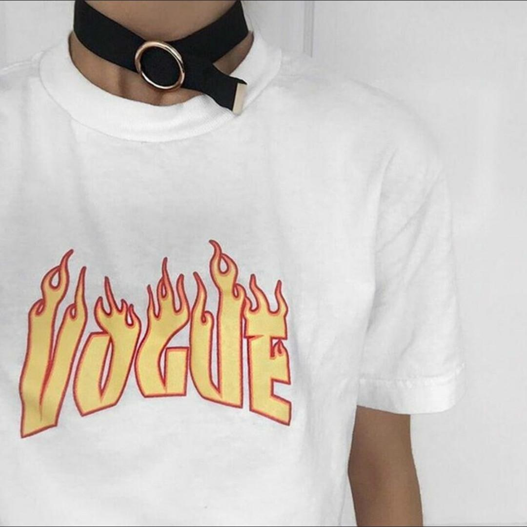 c6d8961e6 2019 Vogue Flame 90s Unisex Tshirts Printed Grunge Style Oversize Tops Tees  Tumblr Fashion Summer Cotton Casual O Neck Cool T Shirts C19041001 From ...