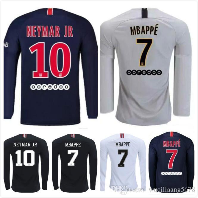 promo code 1d674 e2475 PSG Long sleeve Home Black Soccer Jersey 2019 Paris Saint-Germain Third  Away White #7 MBAPPE Soccer Shirt With Champion league Patch