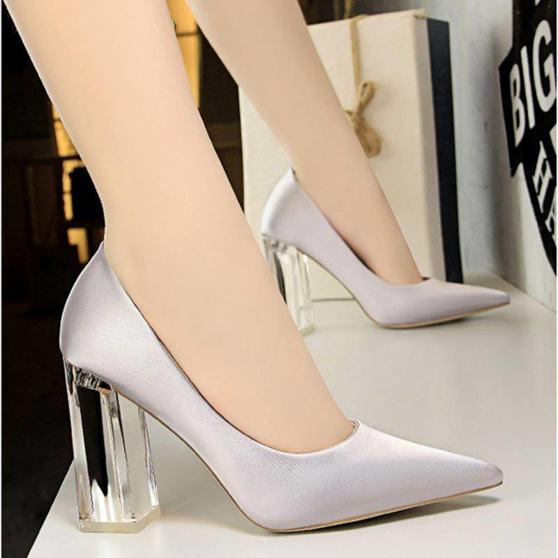 2813ff29b Dress Women High Heels Block Square Heels Transparent Pumps Shoes Clear  Heel Sexy Party Wedding Shoes Sandals Sapato Feminino Formal Shoes For Men  Formal ...