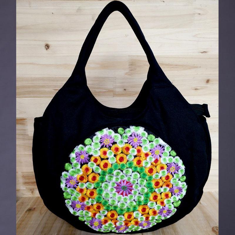 697771cd2a8b Lady Embroidery Ethnic Travel Shoulder Bag Black Red Women Bags Handmade  Flower Vintage Embroidered Canvas Handbag Totes Female Hobo Handbags  Italian ...