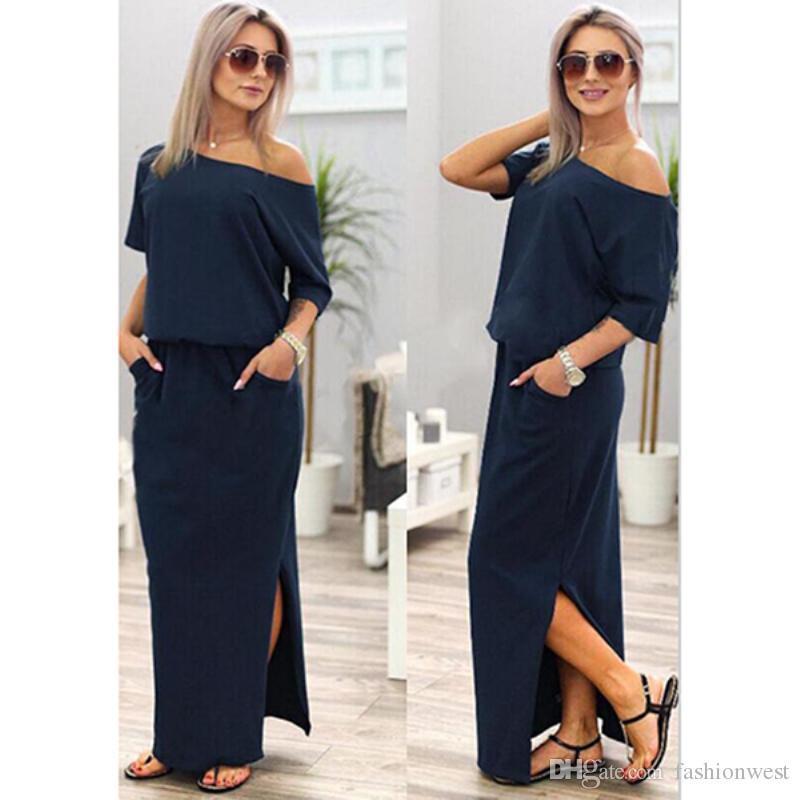 13f761d24efe 2019Sexy Women Boho Maxi Dress Short Sleeve Side Slit Loose Evening Party  Long Beach Dress With Pocket Vestidos Little Black Dresses One Shoulder  Dress From ...