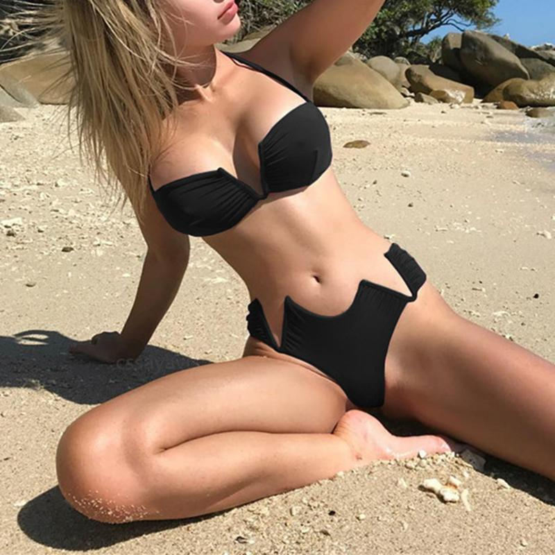 a65e464003 2019 Two Piece Set Lace Up Bandage Strap Slim Sexy Women Beach Bikini  Swimsuit Swimwear Lingerie Lenceria Bra Set Bathing Suit New From  Zhaolinshe, ...