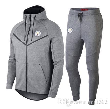 957c02ca2 2019 Best Quality 2018 2019 MAHREZ JESUS DE BRUYNE AGUERO Jacket Tracksuit  18 19 KUN AGUERO City Football Full Zipper Jacket Training Suit From  Mili303