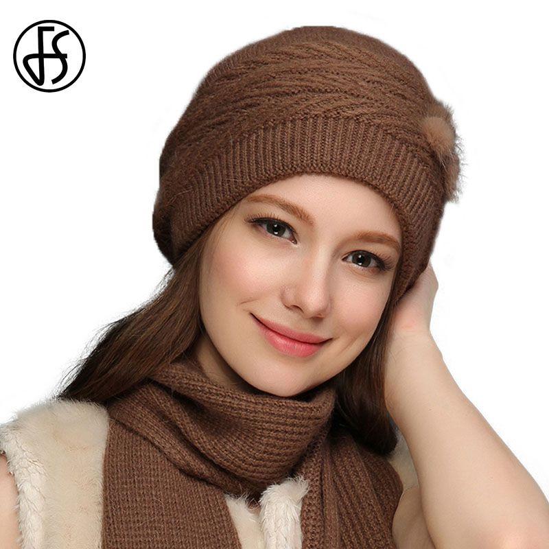 2332543f90d Acheter FS Hiver Laine Tricot Bonnet Et Écharpe Ensemble Pour Les Femmes  Tricoté Skullies Bonnets Noir Gris De Fourrure De Fourrure Pom Pom Chapeaux  Slouchy ...