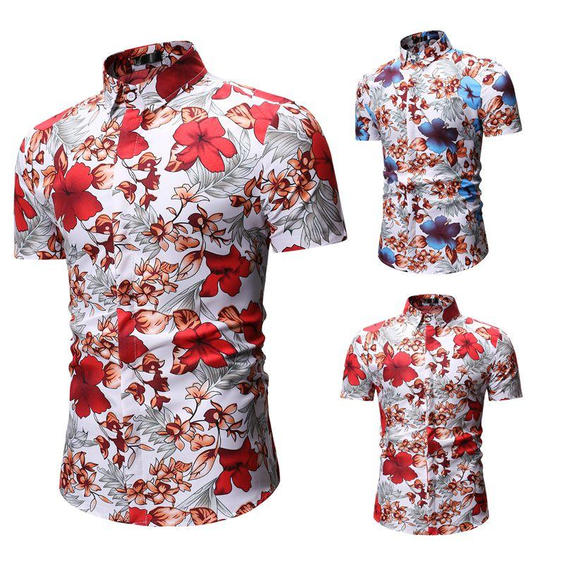 0e083ae22c2 2019 Fashion Mens Floral Print Hawaiian Shirts Short Sleeve Plus Size  Casual Slim Fit Streetwear Male Beach Tops Social Shirts XXXL From  Xisibeauty