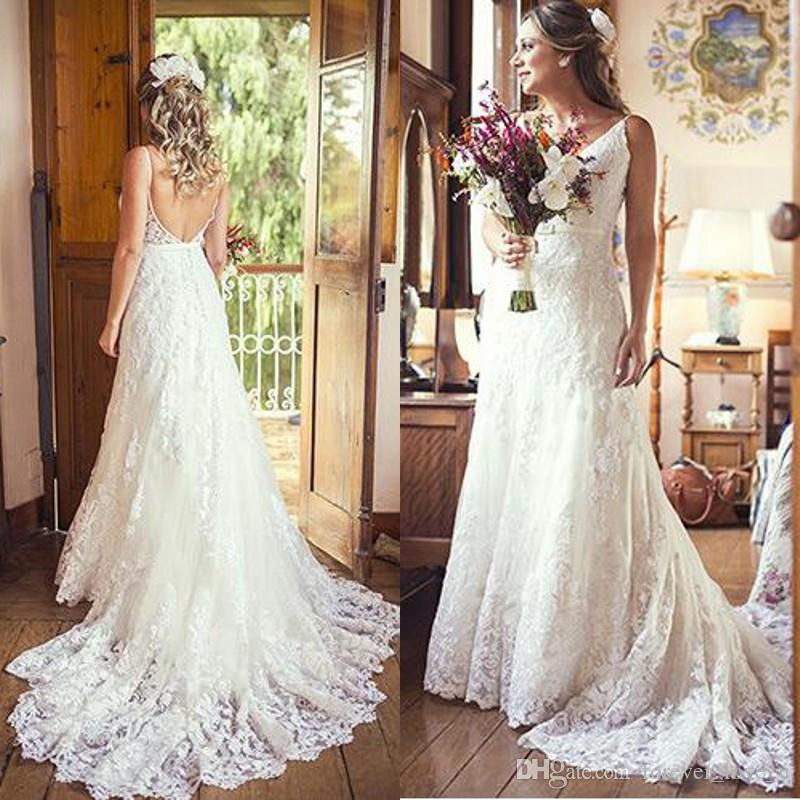 8d9baae143 2019 Country Style Lace Wedding Dresses Plus Size V Neck Spaghetti Straps  Backless Tulle Bridal Gowns Sweep Train Boho Beach Wedding Dress