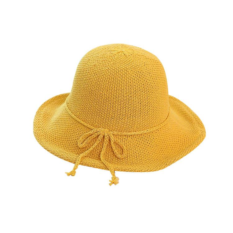 Joker Leisure Cotton Yarn Wide Brim Bowknot Yellow Fisherman Hat Female  Sunshade Hat Sun Female Artistic Basin Autumn Sun Hats Cheap Sun Hats Joker  Leisure ... 0f0d3502f48