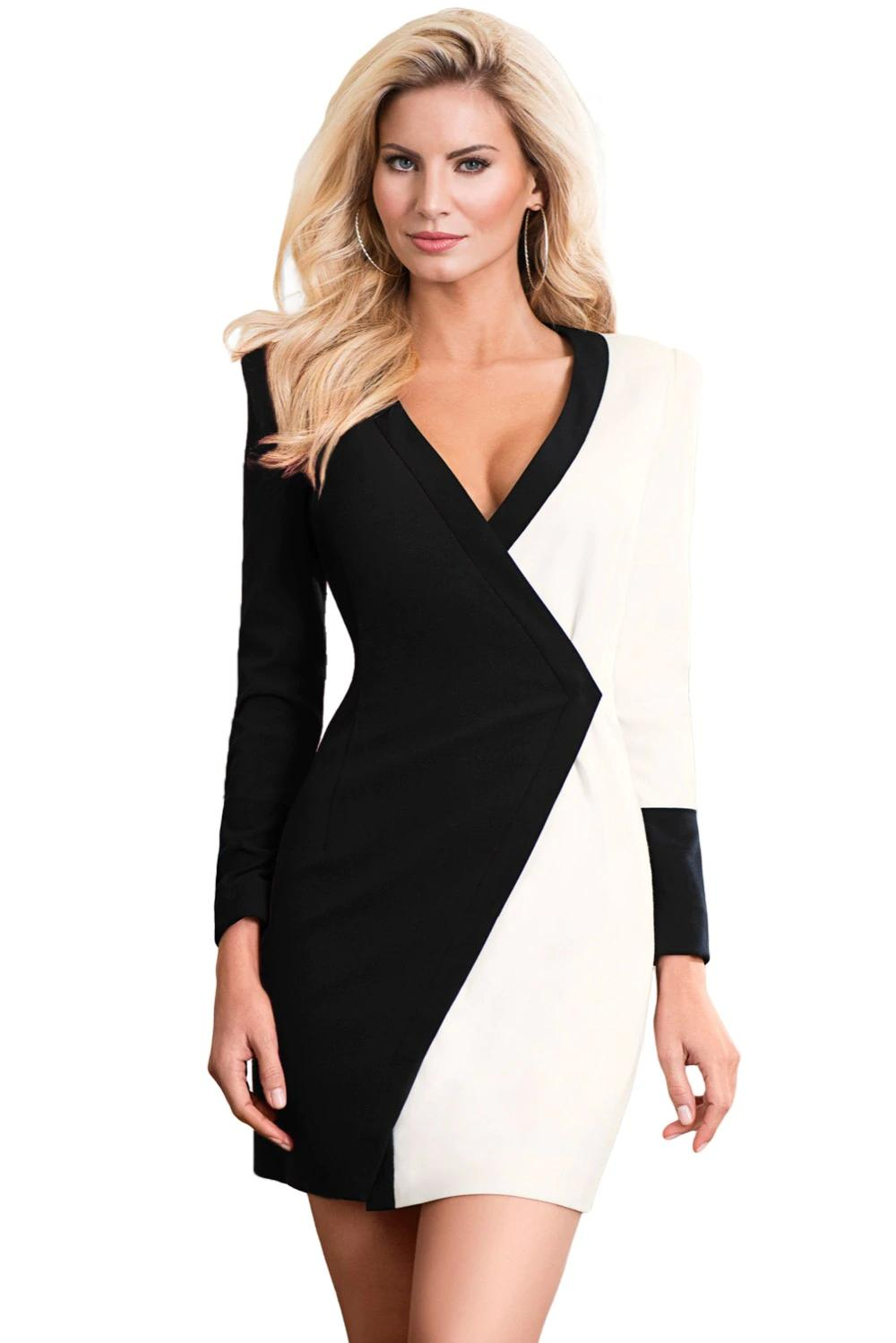 bb34dea77a57 New Long Sleeve 2018 Sexy Autumn V Neck Black White Color Block Faux Wrap  Mini Party Bodycon Dress Vestido Mujer Lc220478 Red Carpet Dresses Black  Prom ...