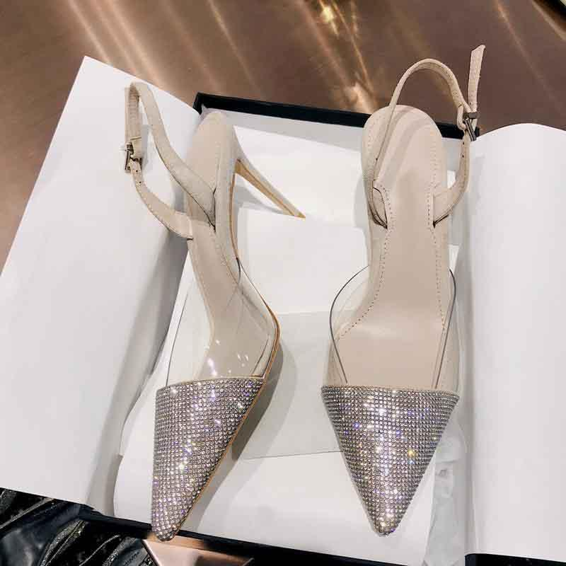 Hot Sale- Designer women Heels slingbacks pointed toe crystal Clear PVC covered high heels Stiletto heels celebs stylesdress party shoes