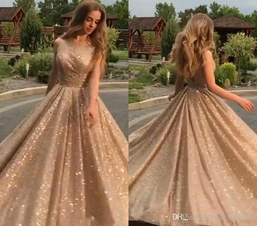 4ddbc4e29d52 Shiny Gold Prom Dress 2019 Cheap A Line Bling Sequins Red Carpet Holidays  Graduation Wear Evening Party Gown Custom Made Plus Size Prom Dresses  Canada Prom ...