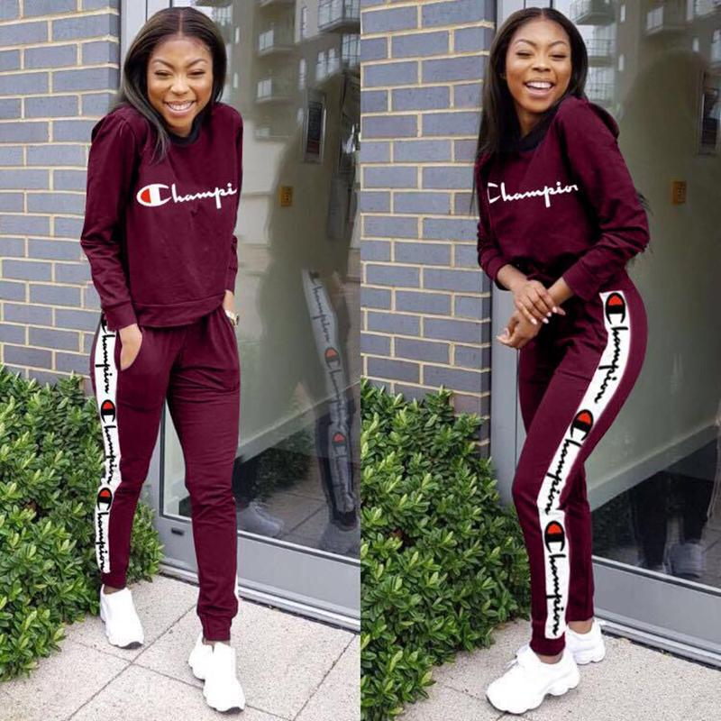 80180dd03c Women Champions Tracksuit Autumn Long Sleeve T Shirt Pants Tights Leggings  2 piece Sportswear Brand Sports GYM Joggers Clothes A1988