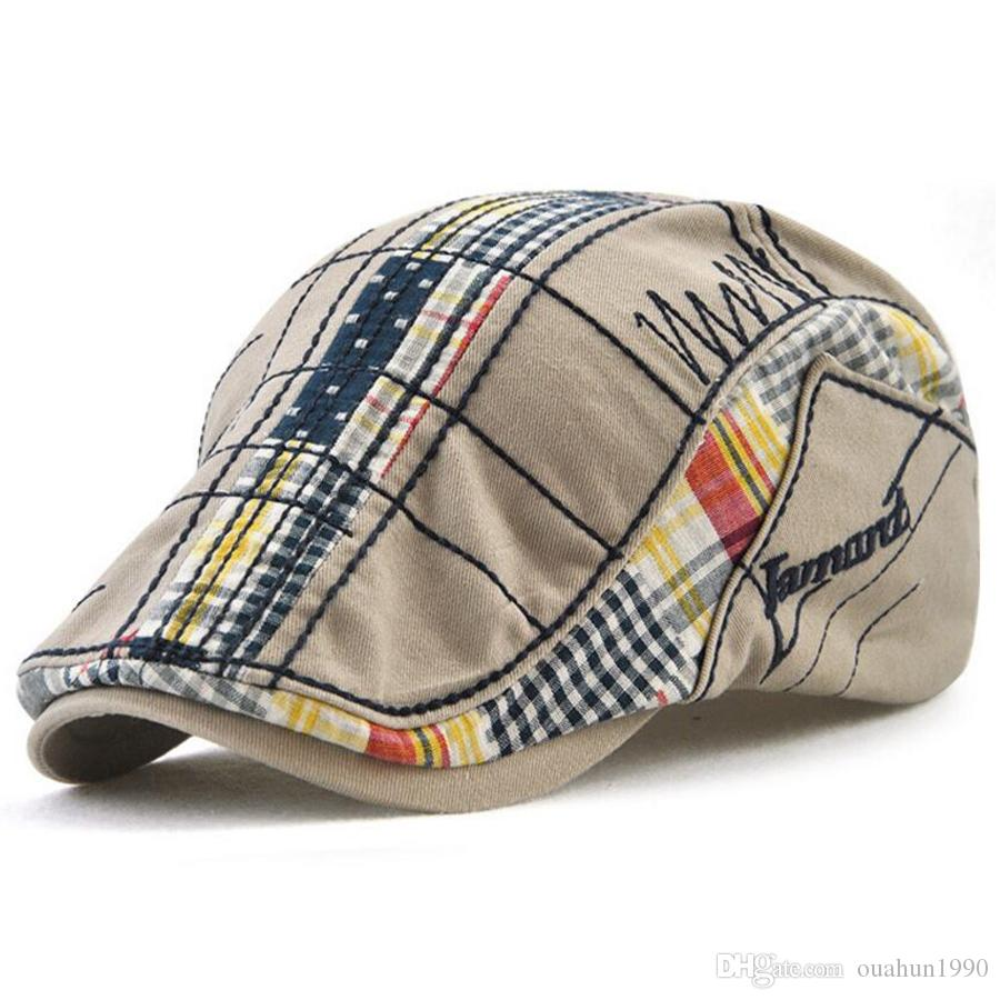 74cb9349706 Cotton Flat Cap Ivy Gatsby Newsboy Hat Duckbill Golf Cabbie Driving Hunting  Men Women Stitching Splice Snap Vintage Beret Cowboy Sun 12945 Duckbill Hat  ...