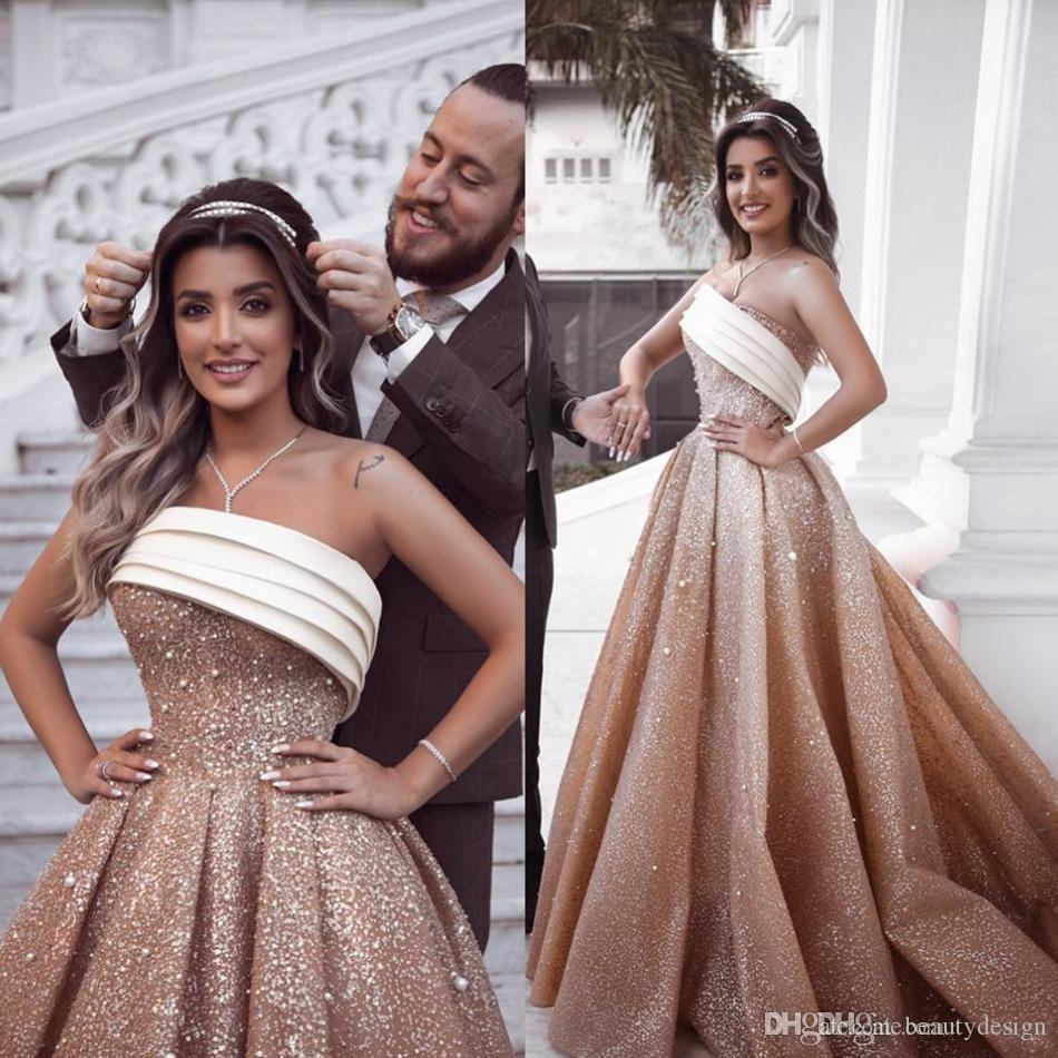cb78eff5cffde Sparkly Champagne Ombre Prom Dresses Strapless Beads Sequins Plus Size  Saudi Arabic Evening Gowns Luxury Royal Princess robe de mariée