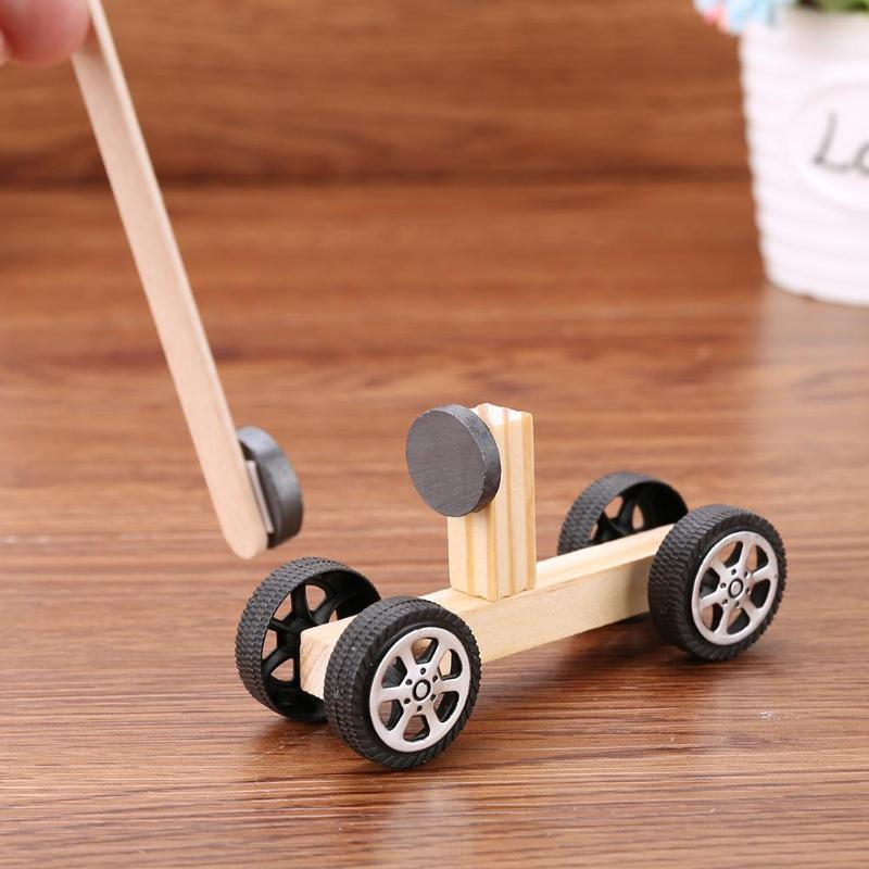 DIY Inventions Magnetic Car Vehicle Pupils Technology Experiment Materials Kids Early Developing Educational Toys Car Blocks Set