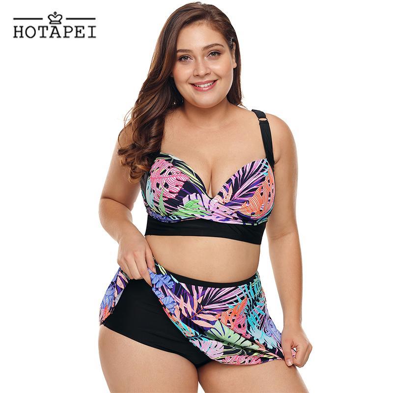 20776c74f49b 2019 Nuevo Talla grande Traje de baño Mujer Top Bikini con estampado  tropical con falda de baño Ropa de playa L10762 Sexy Push Up traje de baño  Femme