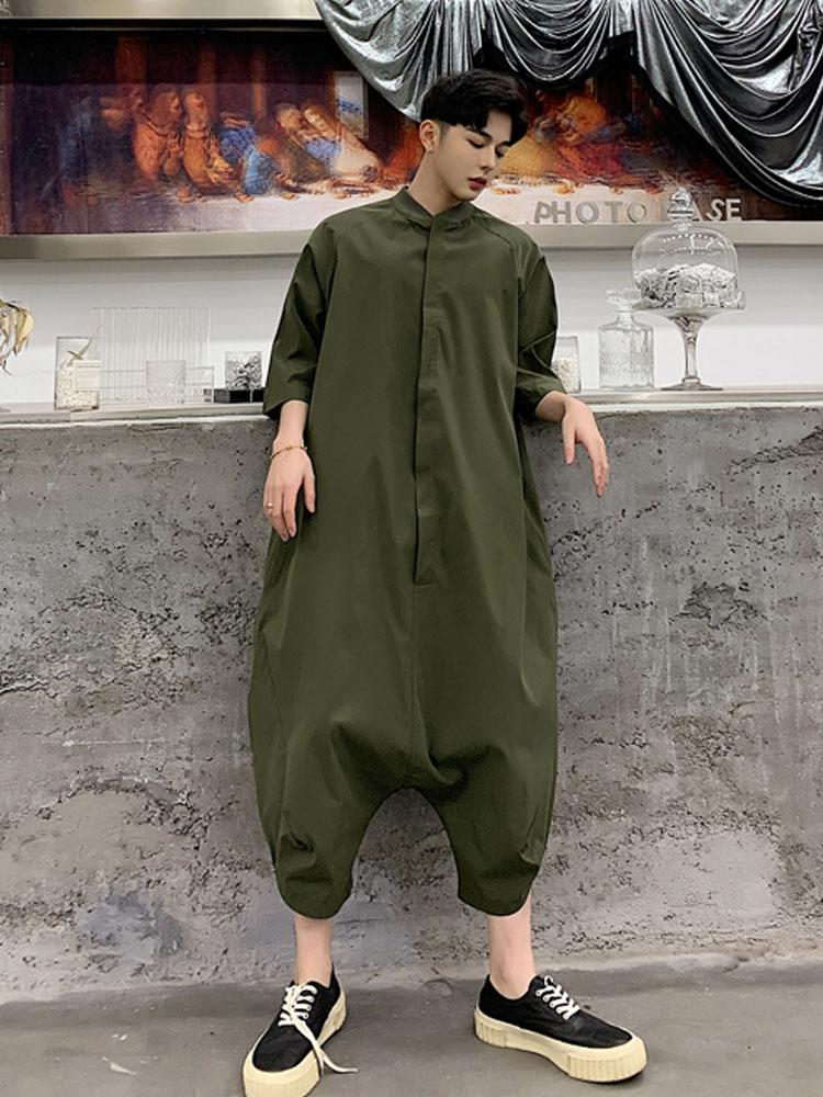 Men Hip Hop Casual Green Black Harem Pant Harajuku Vintage Fashion Streetwear Male Long Sleeve Overalls Jumpsuit Trousers Pants