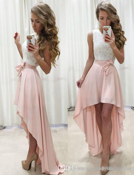 f40dbea6a6c Ivory And Blush Simple High Low Formal Prom Dresses Front Short Long Back  Party Homecoming Gowns Dresses Evening Gowns White Prom Dresses 2015 80s  Prom ...