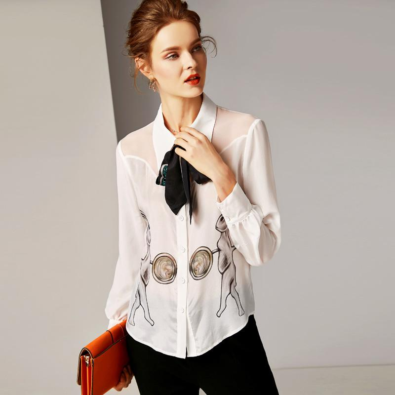 6ce9860d4bcdf5 2019 100% Pure Silk Women's Runway Shirts Turn Down Collar Long Sleeves Bow  Detailing Characters Printed Elegant High Quality Shirts Blouses
