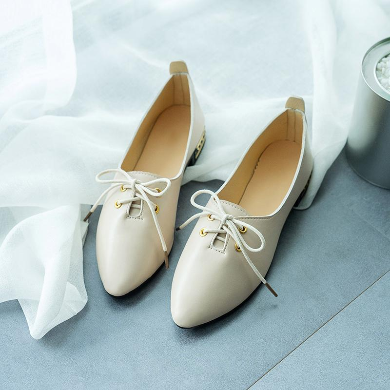 5ac14dae551 2019 Women New Lace Up Pointed Toe Low Heels Loafers Female Casual Crystal  Comfortable Oxford Shoes Ladies Fashion Footwear Leather Shoes Moccasins  For Men ...