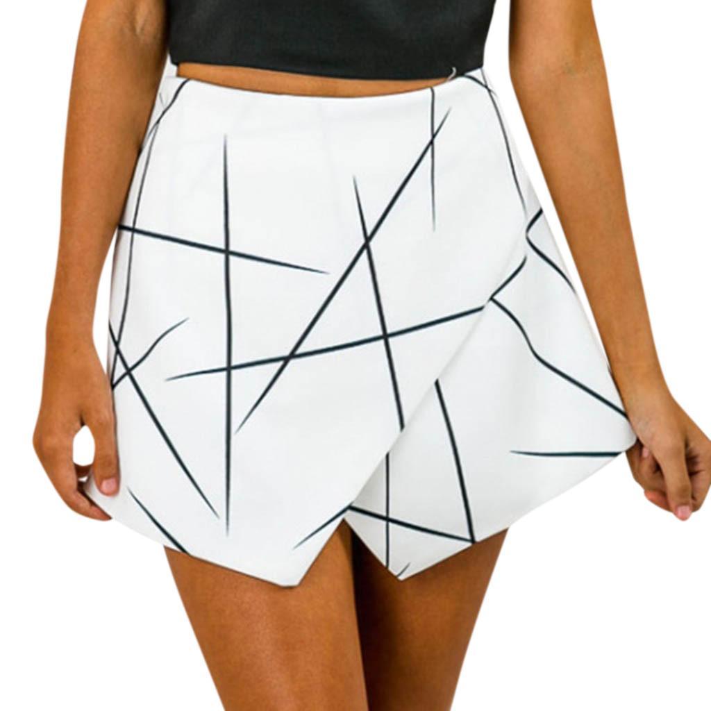 823782b10 CHAMSGEND Sexy Falda Corta de Las Mujeres de Moda Impreso Irregular Strip  Imprimir Falda Casual Fiesta Salvaje Cintura Alta Cadera Mini Fe7