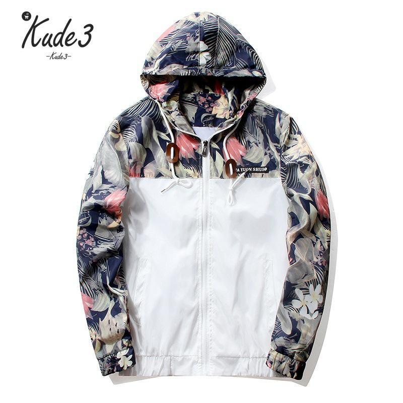 d4b3f699f Floral Jacket 2019 Autumn Mens Hooded Jackets Slim Fit Long Sleeve Homme  Trendy Windbreaker Coat Clothing Drop Shipping 4829 Biker Leather Jackets  Wool ...