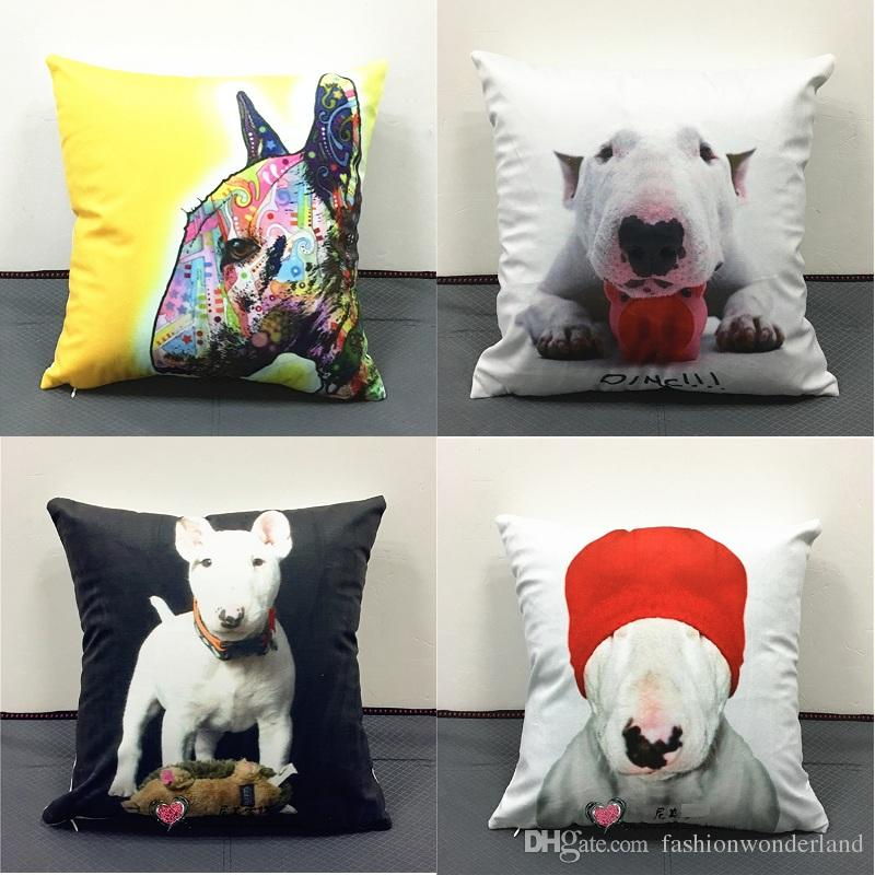 Bull Terrier Dog Angel Cushion Cover Watercolor Painting Pet Soft