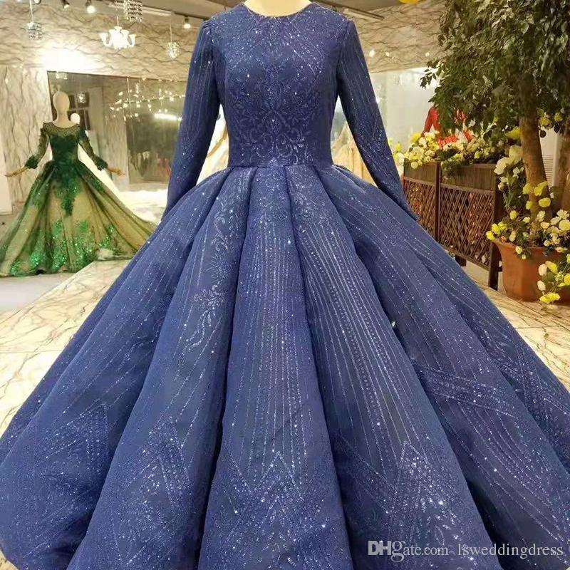 6a95c141636e2 2019 Ball Gown Muslim Prom Dress Floor Length O-Neck Long Sleeves Lace Up  Back Detail Evening Dress Curvy Shape Ladies Dress Saudi Arabia