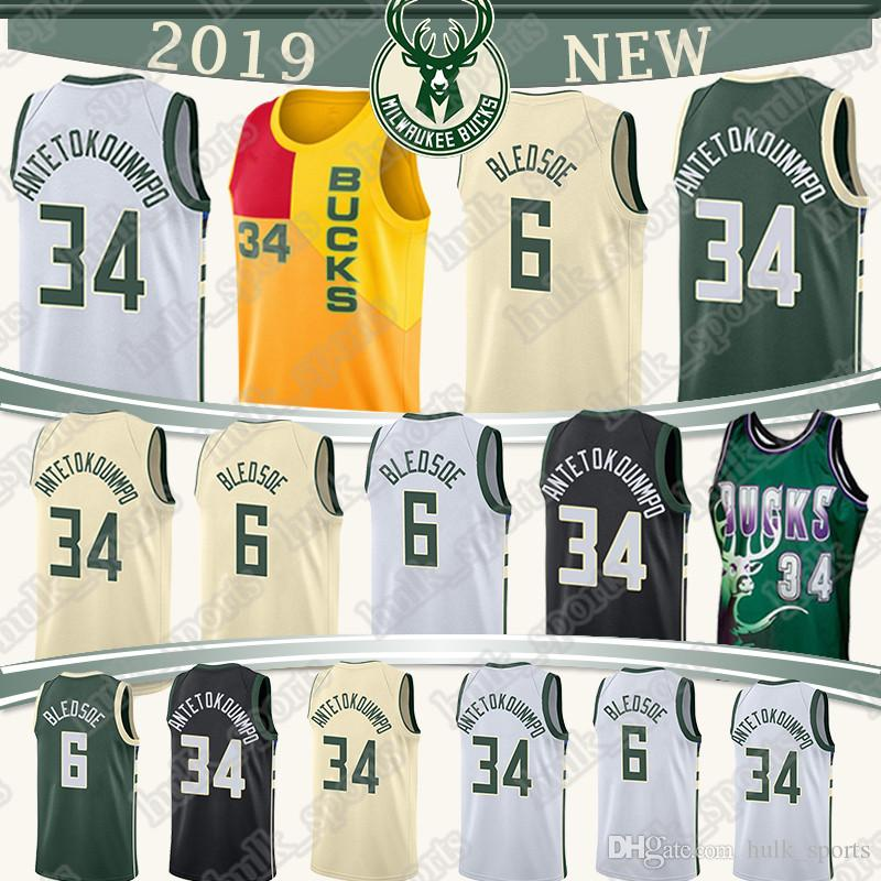 first rate ccf1e f43a2 Milwaukee 34 Antetokounmpo Bucks jersey 6 Bledsoe 34 Allen Retro jerseys  high quality basketball jerseys T shirt