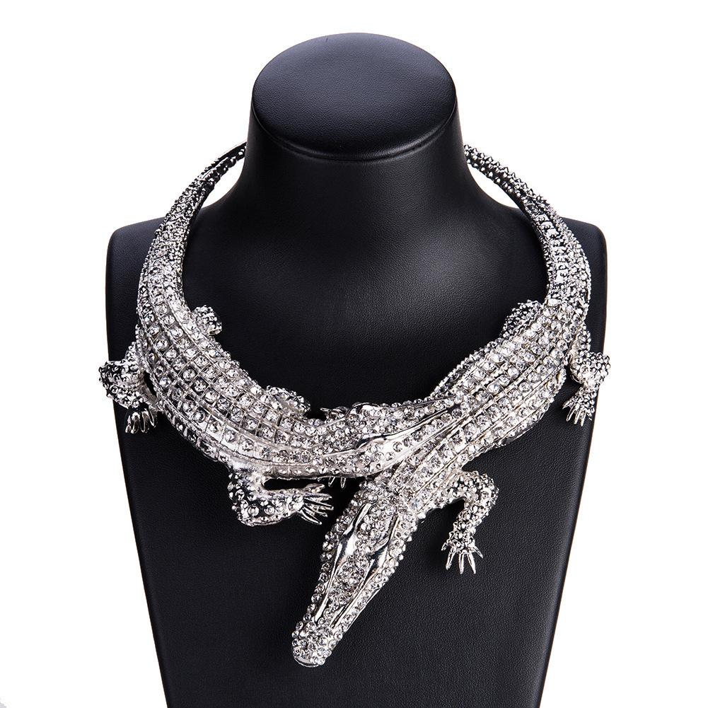 8a570b34d5e 2019 Big Crocodile Necklaces Alloy Inlay Full Rhinestones Womens  Exaggerated Choker Statement Jewelry Bib Collar Maxi Necklace From Shicool,  $9.63   DHgate.