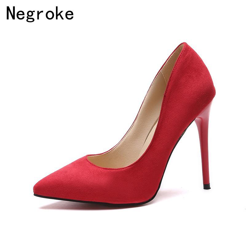 61da891864c36 Acheter Designer Chaussures De Chaussures 2019 Chic Femmes Pompes Talons  Hauts En Daim Cuir Bout Toit Femme Sexy Parti De Mariage Stiletto Nude  Talons Plus ...