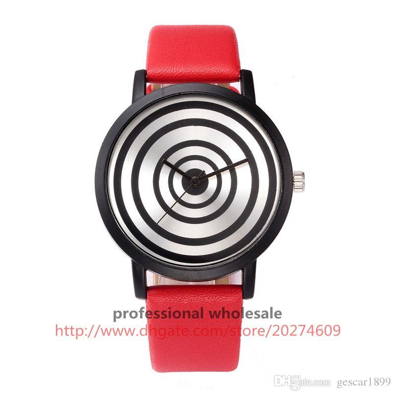 Item 8621fashion black circle dial pated watch no logo casual unique style peculiar leather wrist watch harajuku watches