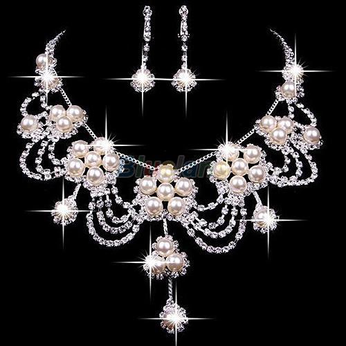 Splitter überzogener Strass Kristall Faux Perlenkette + Ohrring-Schmuck-Set für Braut Braut Hochzeit A7UR