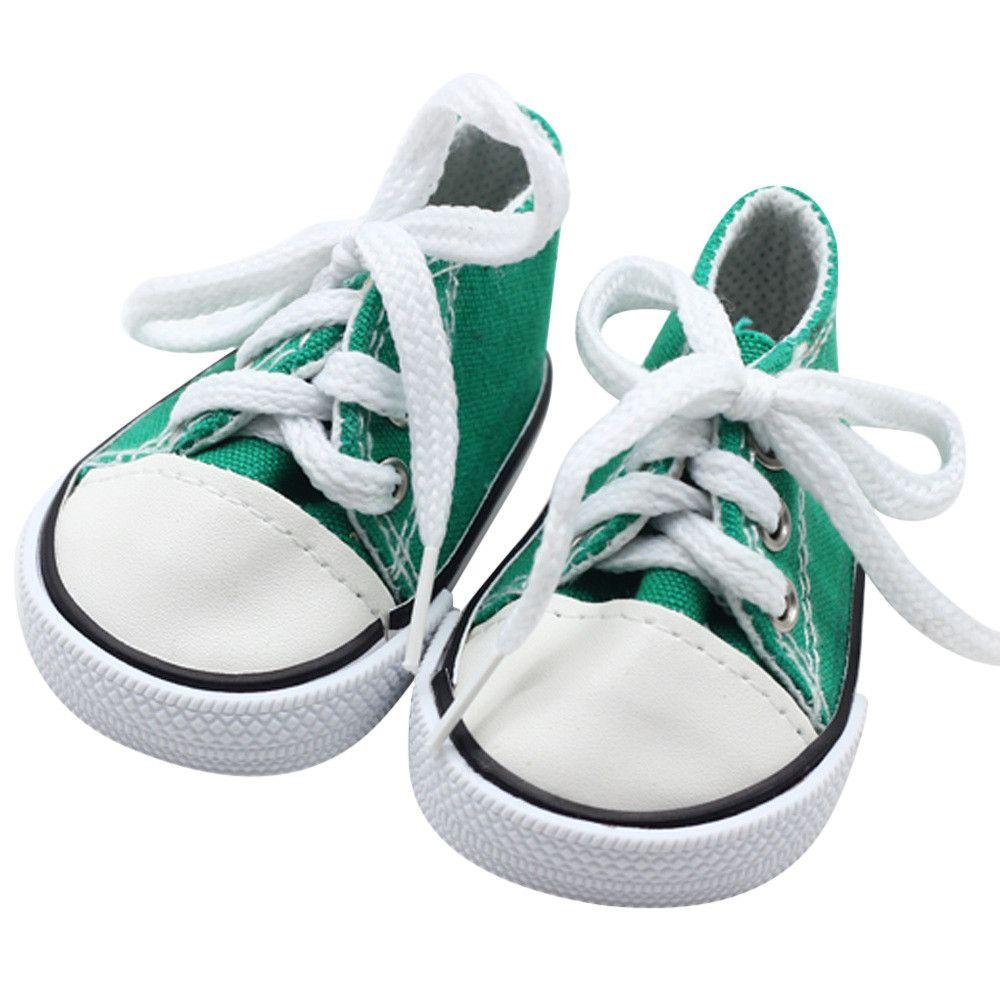 10b7b6964 Compre Mayo Bebé   5001 2018 NUEVOS Zapatos De Lona Con Cordones Para  Zapatillas De Deporte De 18 Pulgadas Nuestra Generación American Girl Boy  Doll Drop ...