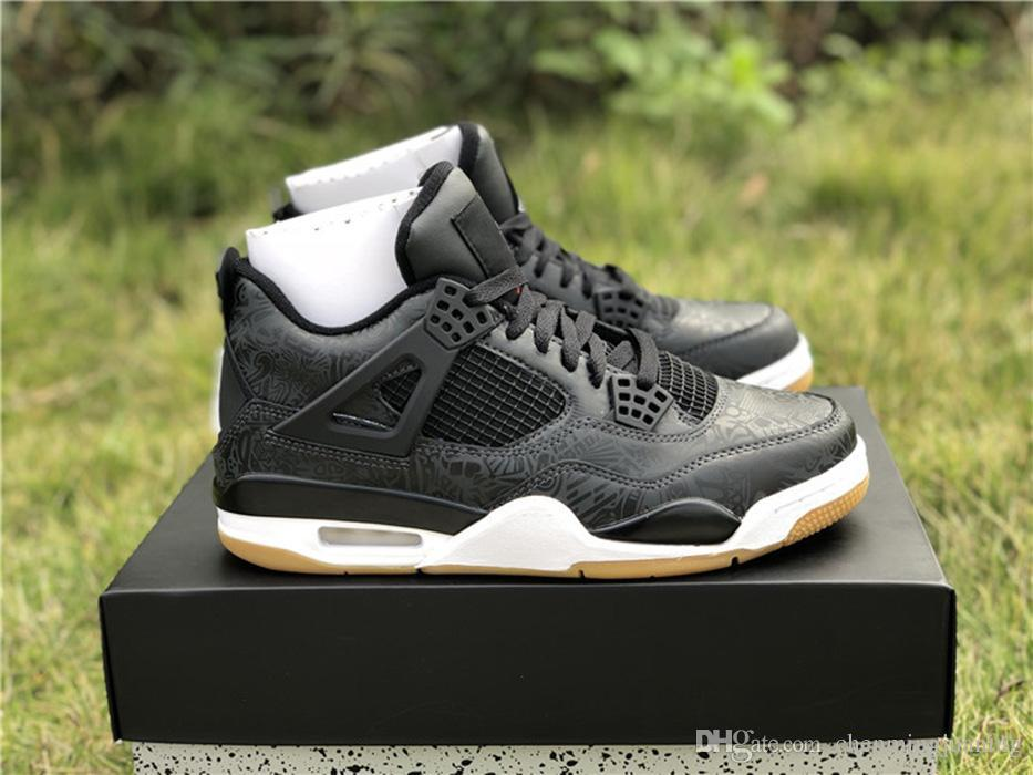 save off 9b762 ffd73 New Retro Release Authentic 4 SE Laser Black Gum Basketball Shoes Black 3M  Gum Light Brown For Man 4s Sports Sneakers CI1184-001 With Box