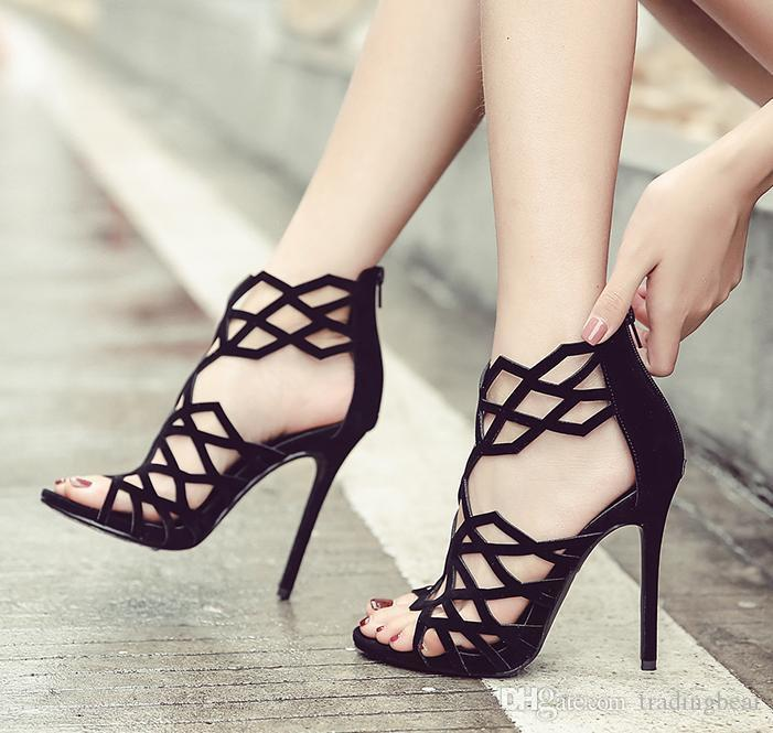 1c501508b Charm2019 Women Gladiator Sandals Sexy Rome Style Geometry Hollow Out Shoes  Party Club 11cm To White Wedges Cheap Shoes For Women From Glassshoes, ...