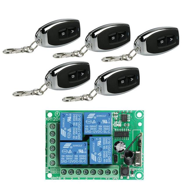 DC 12V 4 CH 433Mhz Wireless RF Relay Receiver Module Remote Control Switch + 5pcs 433 Mhz Transmitter Remote Control Diy