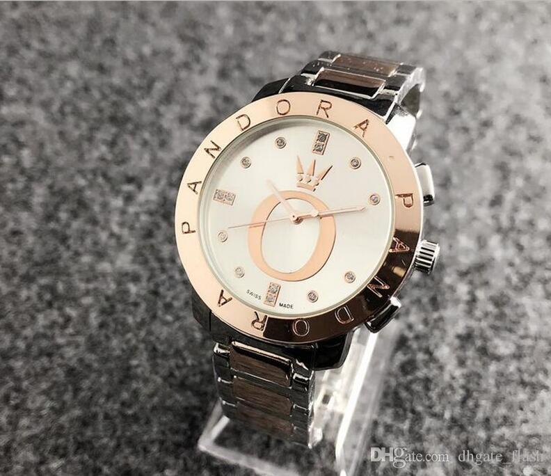 6de31be3ccaa Diamante reloj de pandora Reloj de pulsera de acero inoxidable de lujo  Relojes de cuarzo de acero mk dz dw reloj de las mujeres envío gratis