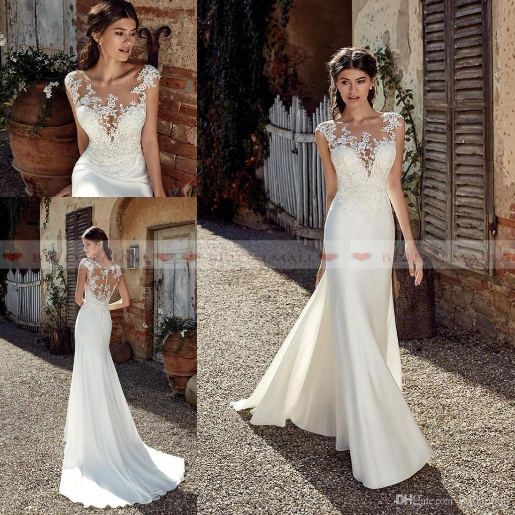 2019 Designer Mermaid Beach Wedding Dresses Sexy Lace Appliques Sheer Neck Floor Length Bohemian Cheap Wedding Dress Bridal Gowns Vestidos