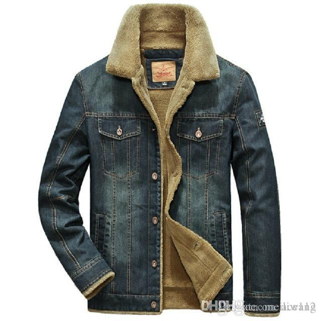 new concept af790 fc809 giacca invernale uomo di spessore e cappotti giacca denim abbigliamento  Moda uomo giacca jeans caldo outwear uomo cowboy AD00081