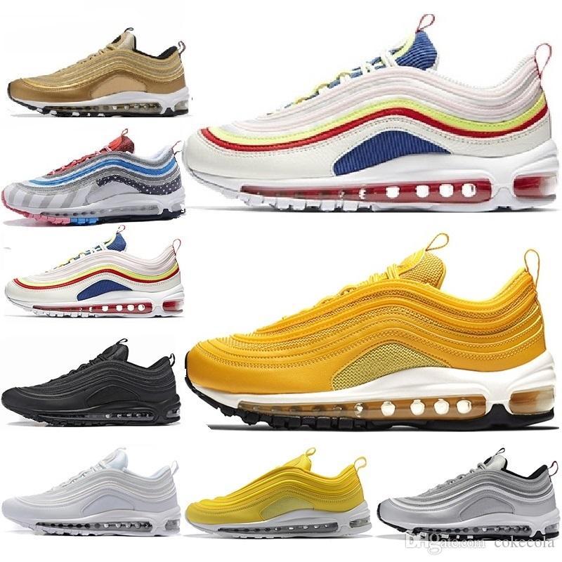 Nike air max 97 2019 venta caliente zapatos para hombre mujer blanco negro rojo informal aire diseñadores masculinos baratos zapatos casuales 36 45