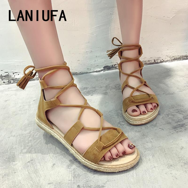 new summer Women Sandals women Casual Fisherman Gladiator Rome Peep Toe Lace Up flats Flip Flops shoes Sandals Mujer #485