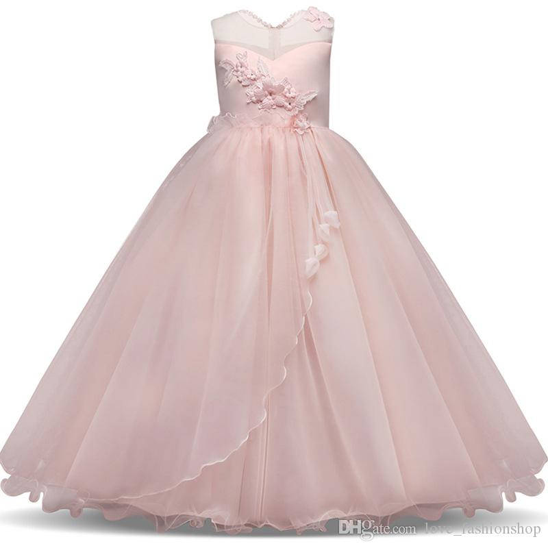 1pcs Girls Pretty Lace Applique Tulle Wedding Princess Dress baby girl designer clothes Kids boutique Strapless Formal Gowns Party Dresses