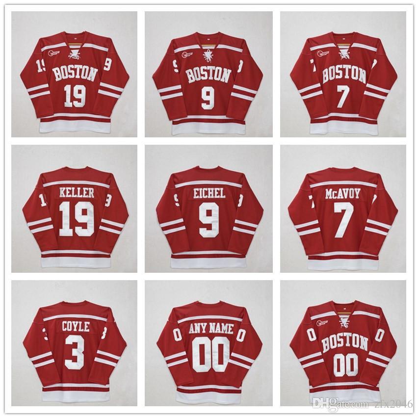 sale retailer 26442 8298c Custom Boston University #3 charlie coyle #7 Charlie McAvoy #9 Jack Eichel  #19 Clayton Keller #20 Diffley Red Hockey Jersey Stitched patches
