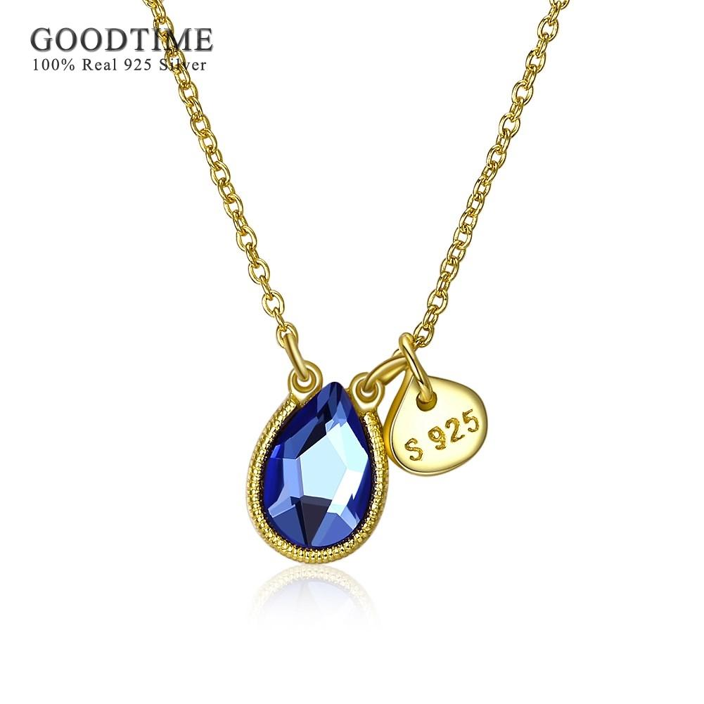 f540cd004 Necklace Women 925 Sterling Silver Water Drop Crystal Pendant Necklaces  Real Silver 925 Chain Necklaces Jewelry Jewellery Gifts Online with  $28.17/Piece on ...