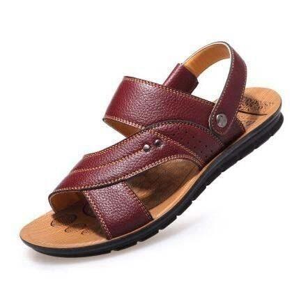 Calidad Zapatillas De Cuero Hombres Tamaño Alta Zapatos Cómodas Sandalias Playa Los 2018 Genuino Moda R35j4AL