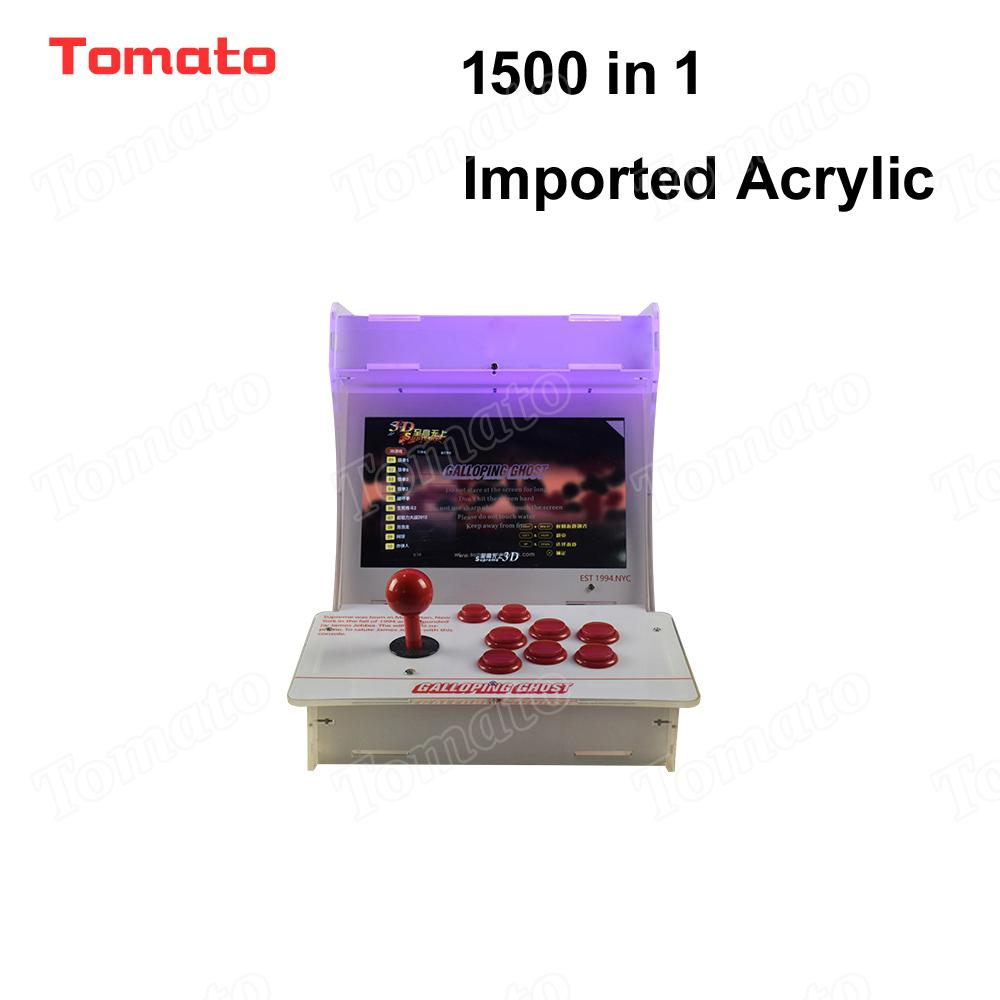 Tomato High quality Hot Sale Imported Acrylic 1500 in 1 White Mini Multi Video Game Model Indoor Arcade Game Machine For 2 Players