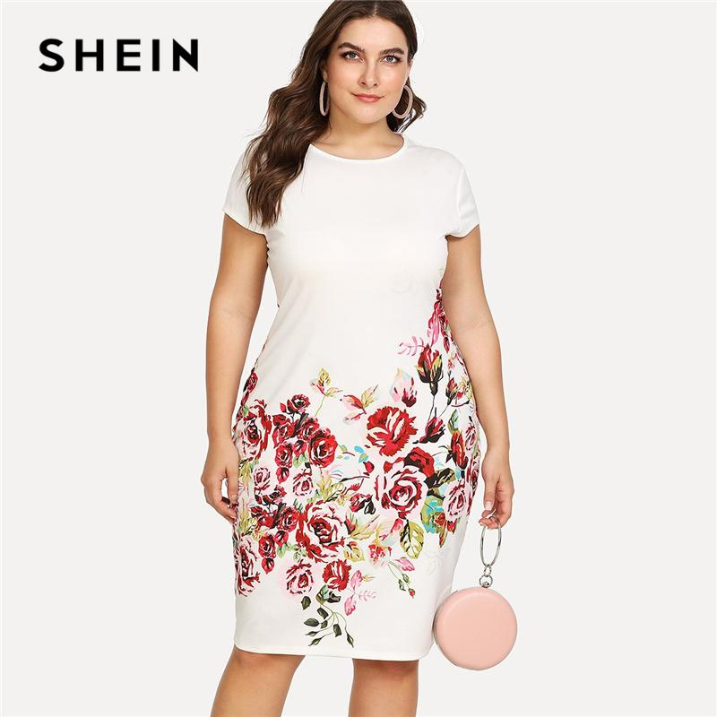 ceb0c1b470 2019 SHEIN Floral Print Pencil Dress 2018 Summer Round Neck Short Cap  Sleeve Dress Women White Plus Size Elegant Dress Y19012102 Y19012201 From  Shenyan01, ...